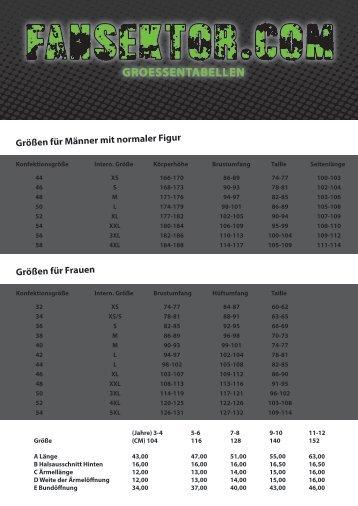Tabelle mit Größen