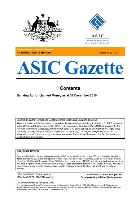 ASIC Gazette - Australian Securities and Investments Commission