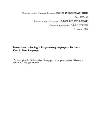 Programming languages - Fortran - DKUUG standardizing
