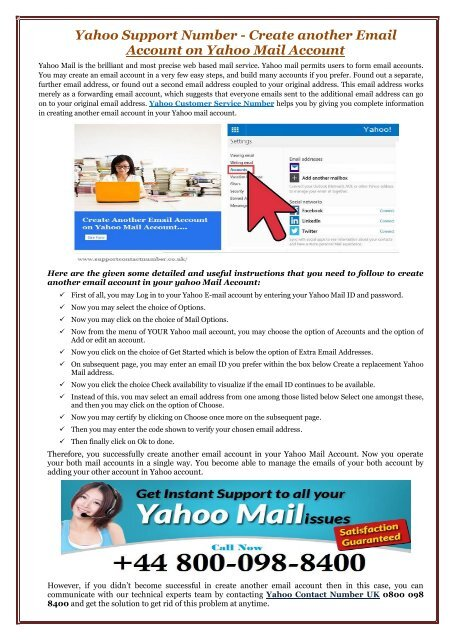 How to create an extra yahoo email account
