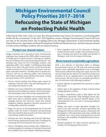 MichiganEnvironmentalCouncilPolicyPriorities2017-2018