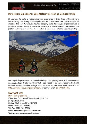 Motorcycle Expeditions: Motorcycle Tours India