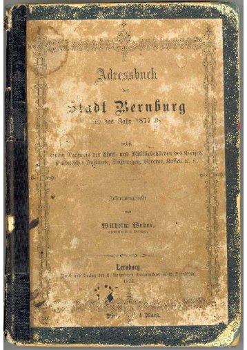 Adressbuch Bernburg 1877 - 1878