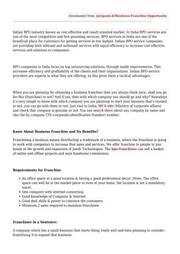 BPO Business Franchise Opportunity in India