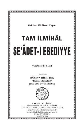 SE'Ã'DET-Ä° EBEDÄ°YYE - Hakikat Kitabevi