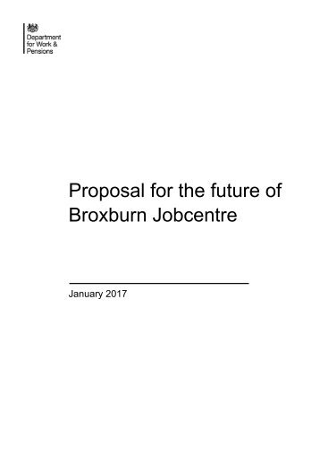 Proposal for the future of Broxburn Jobcentre