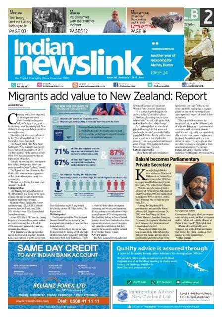 Indian Newslink 1st February 2017 Digital Edition