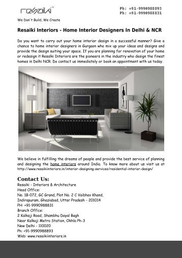 Home Interior Designers In Delhi NCR