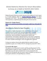 Global Batteries Market for Smart Wearables Market Research Report 2021