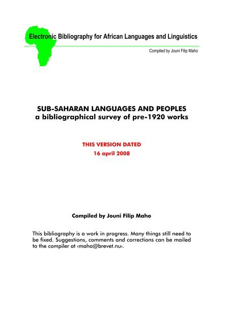 Electronic Bibliography for African Languages and