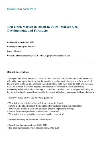 Bed Linen Market in France to 2019 - Market Size, Development, and Forecasts