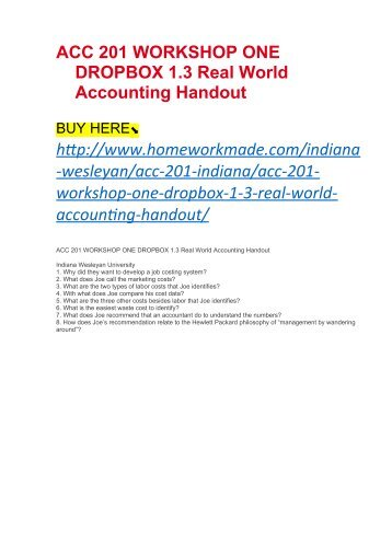 ACC 201 WORKSHOP ONE DROPBOX 1.3 Real World Accounting Handout