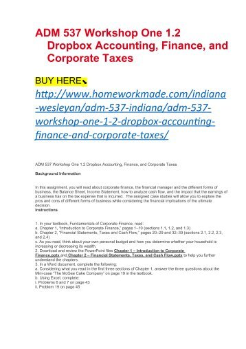ADM 537 Workshop One 1.2 Dropbox Accounting, Finance, and Corporate Taxes