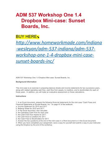 ADM 537 Workshop One 1.4 Dropbox Mini-case Sunset Boards, Inc.