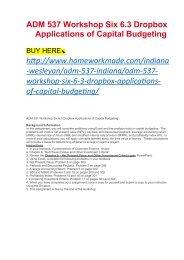 ADM 537 Workshop Six 6.3 Dropbox Applications of Capital Budgeting