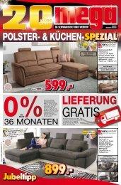 Mega Möbel in Schwandorf + Weiden: Jubiläum 20 Jahre - Polster- & Küchen-Spezial
