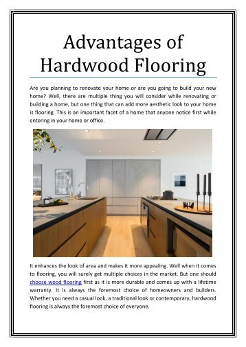 Advantages of Wood Flooring