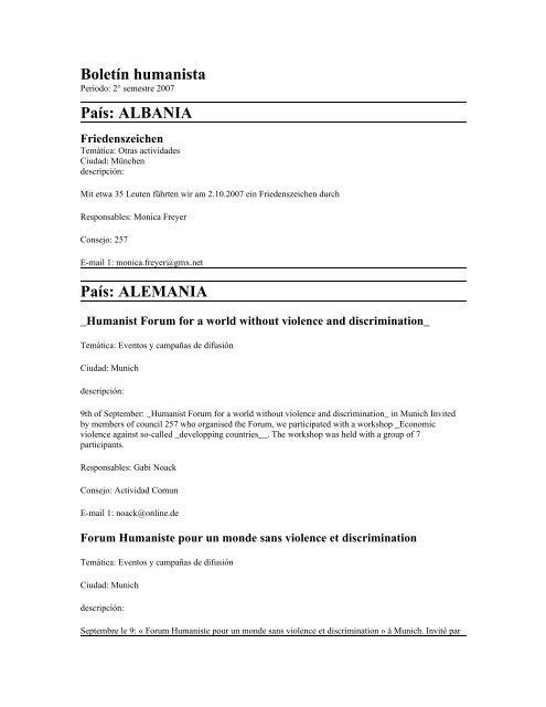 Boletãn Humanista Movimento Umanista