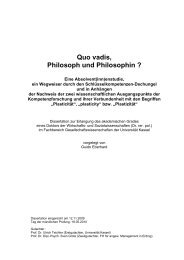 Quo vadis, Philosoph und Philosophin ? - KOBRA - Universität Kassel