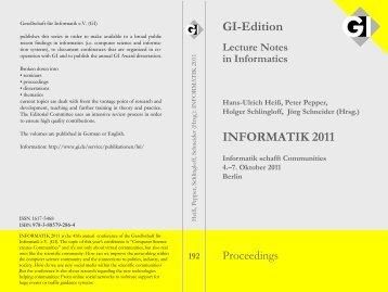 INFORMATIK 2011 GI-Edition
