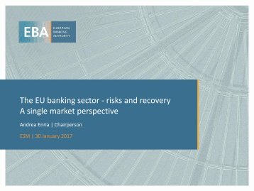 The EU banking sector - risks and recovery A single market perspective