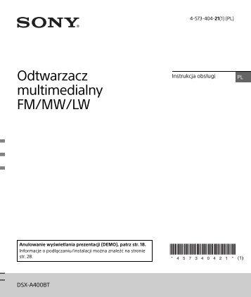 Sony DSX-A400BT - DSX-A400BT Istruzioni per l'uso Polacco