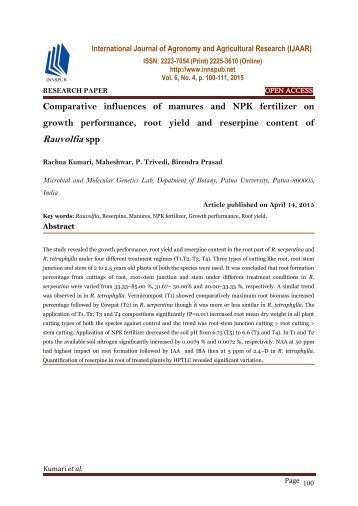 Comparative influences of manures and NPK fertilizer on growth performance, root yield and reserpine content of Rauvolfia spp
