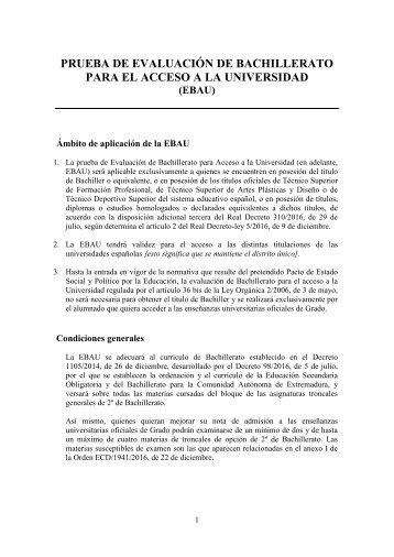 PRUEBA DE EVALUACIÓN DE BACHILLERATO PARA EL ACCESO A LA UNIVERSIDAD