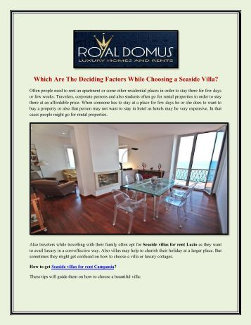 Which Are The Deciding Factors While Choosing a Seaside Villa