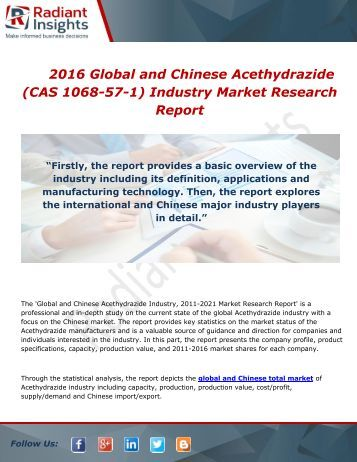 2016 Global and Chinese Acethydrazide (CAS 1068-57-1) Industry Market Research Report