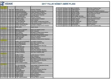 Edak NÖBET Listesi 2017