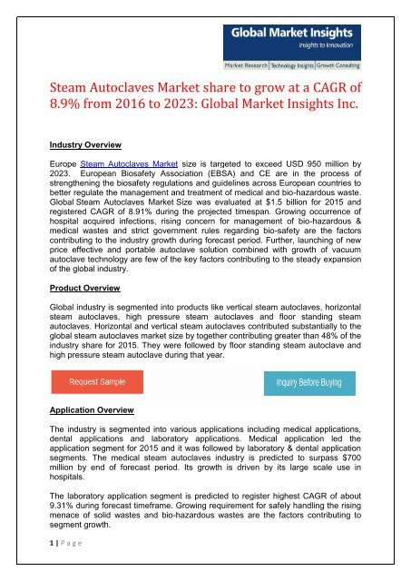 Global Steam Autoclaves Market share to exceed USD 2 9
