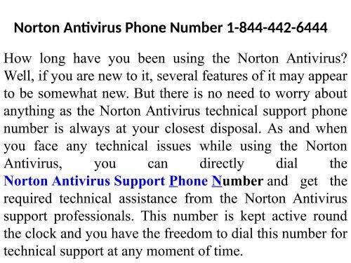 Norton Antivirus Support Number  1-844-442-6444