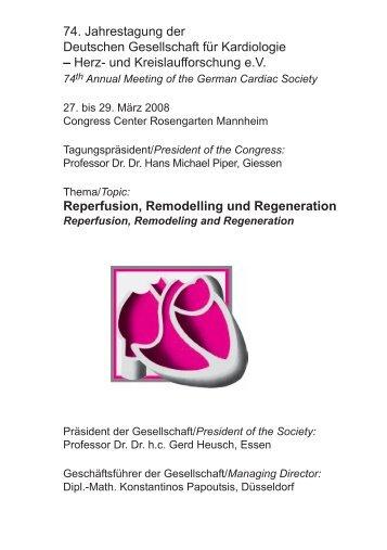 74. Jahrestagung der Deutschen Gesellschaft für Kardiologie – Herz ...