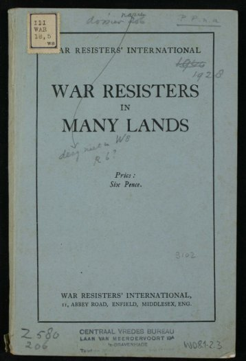 WAR RESISTERS MANY LANDS - Peace Palace Library