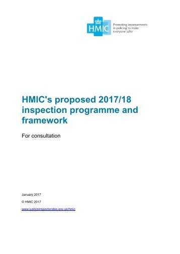 HMIC's proposed 2017/18 inspection programme and framework