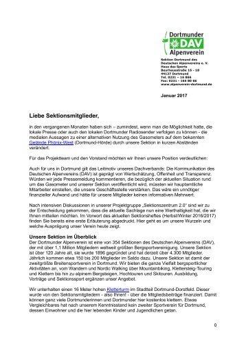 Sektionszentrum - Mitgliederinformation 01_2017