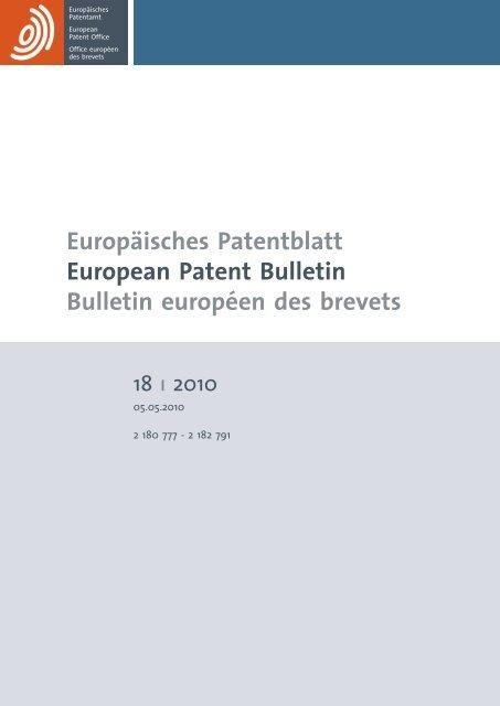 Bulletin 201018 European Patent Office