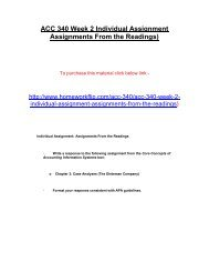 ACC 340 Week 2 Individual Assignment Assignments