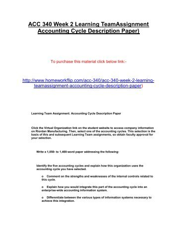 ACC 340 Week 2 Learning TeamAssignment Accounting Cycle