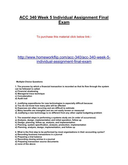 Acc 340 Week 5 Individual Assignment Final Exam