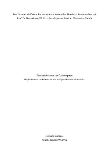 Protestformen im Cyberspace