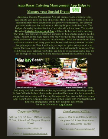 AppsBazar Catering Management App Helps to Manage your Special Events