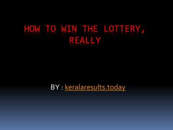 How to Win the Lottery, Really