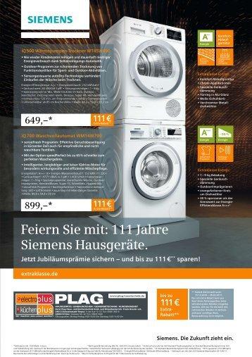 electroplus PLAG - Feiern Sie mit: 111 Jahre Siemens Hausgeräte. Jetzt Jubiläumsprämie sichern – und bis zu 111 €** sparen!