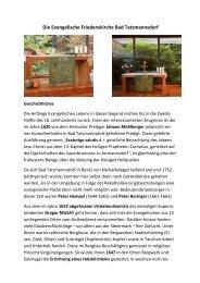 Geschichte der Evangelischen Friedenskirche Bad Tatzmannsdorf