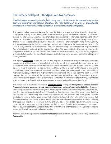 The Sutherland Report—Abridged Executive Summary