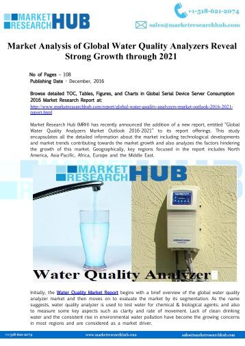 Market Analysis of Global Water Quality Analyzers