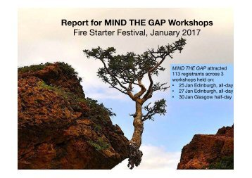 Report for MIND THE GAP Workshops Fire Starter Festival January 2017
