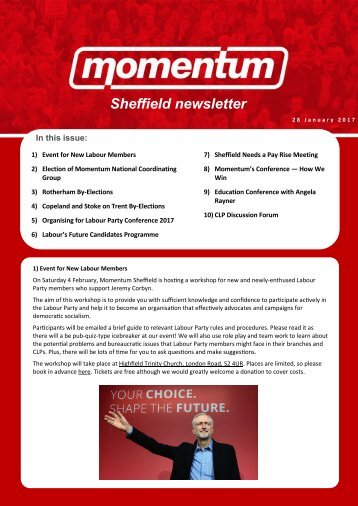 Sheffield newsletter